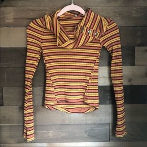 Free People Striped Cowl Neck Long Sleeve